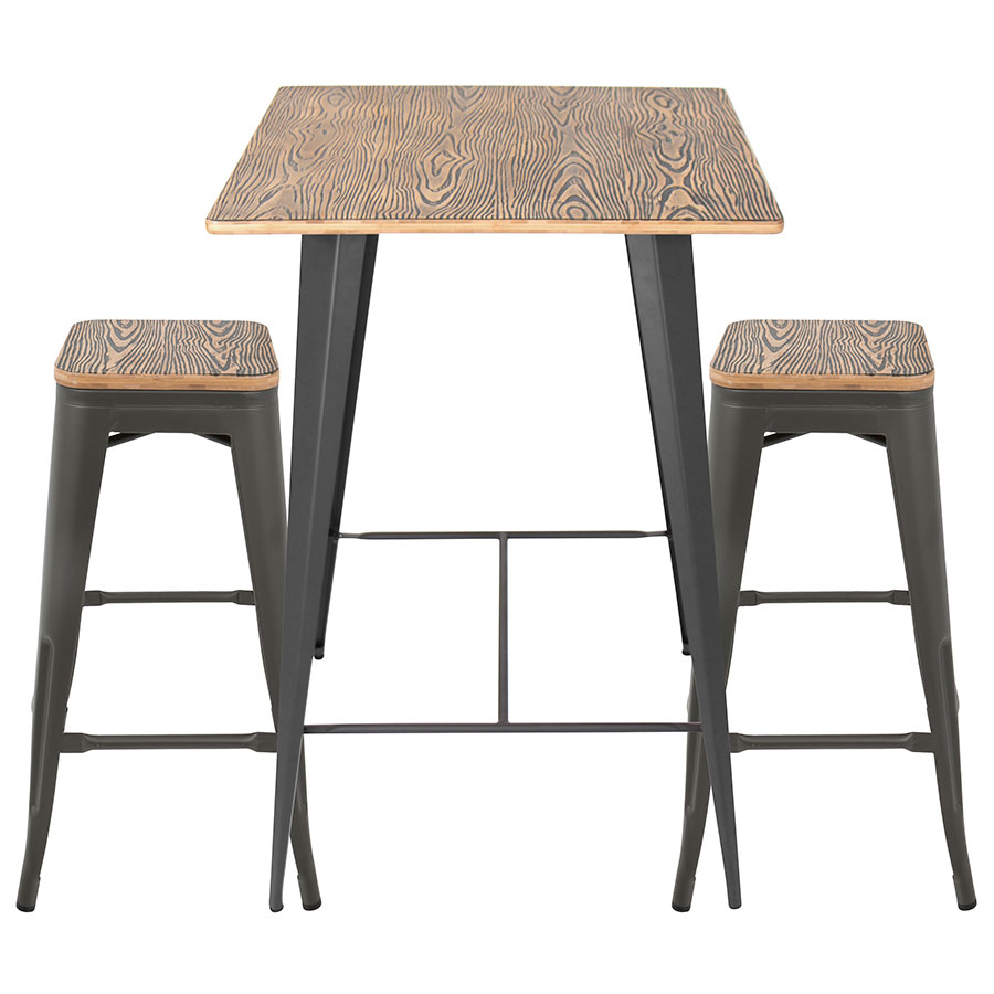 Set Oakland Gray Steel Raw Wood Modern Bar Table Stools