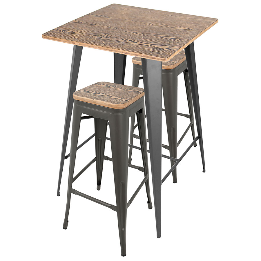 Call To Order Oakland Gray Steel Raw Wood Modern Bar Table Stools Set