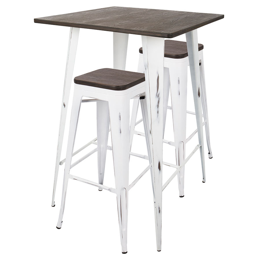 Oakland Vintage White Steel Espresso Wood Modern Bar Table Stools Set