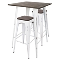 Oakland Vintage White Steel + Espresso Wood Modern Industrial Bar Table + Stools Set