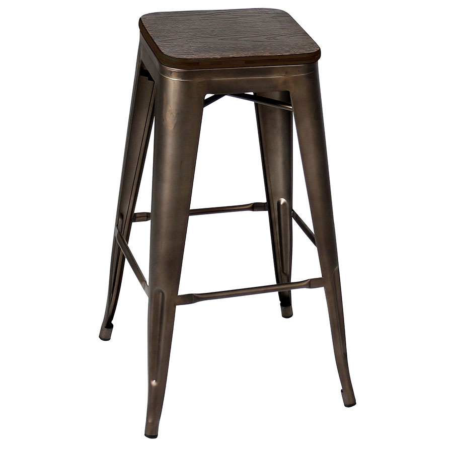 Oakland Antique + Espresso Contemporary Bar Stool