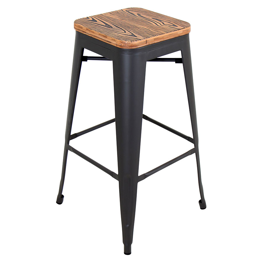 Oakland Grey + Brown Bar Stool