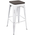 Oakland White + Espresso Modern Bar Stool