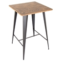 Oakland Gray Metal + Medium Brown Distressed Modern Bar Table