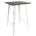 Oakland White Distressed Metal + Espresso Wood Modern Industrial Bar Table