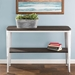 Oakland Console Table - Espresso Wood + Vintage White Metal