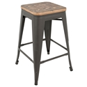 Oakland Gray + Brown Modern Counter Stool
