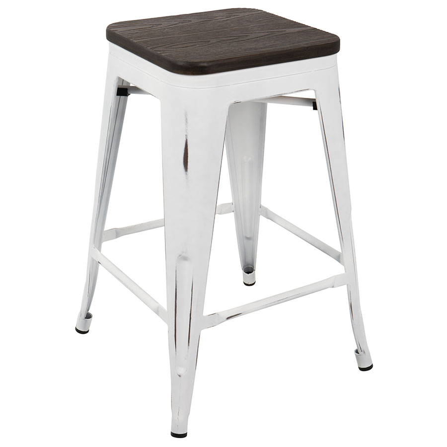 Oakland White + Espresso Modern Counter Stool