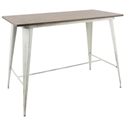 Oakland White Distressed Metal + Espresso Wood Modern Industrial Counter Table