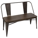 Oakland Antique + Espresso Rustic Modern Dining Bench
