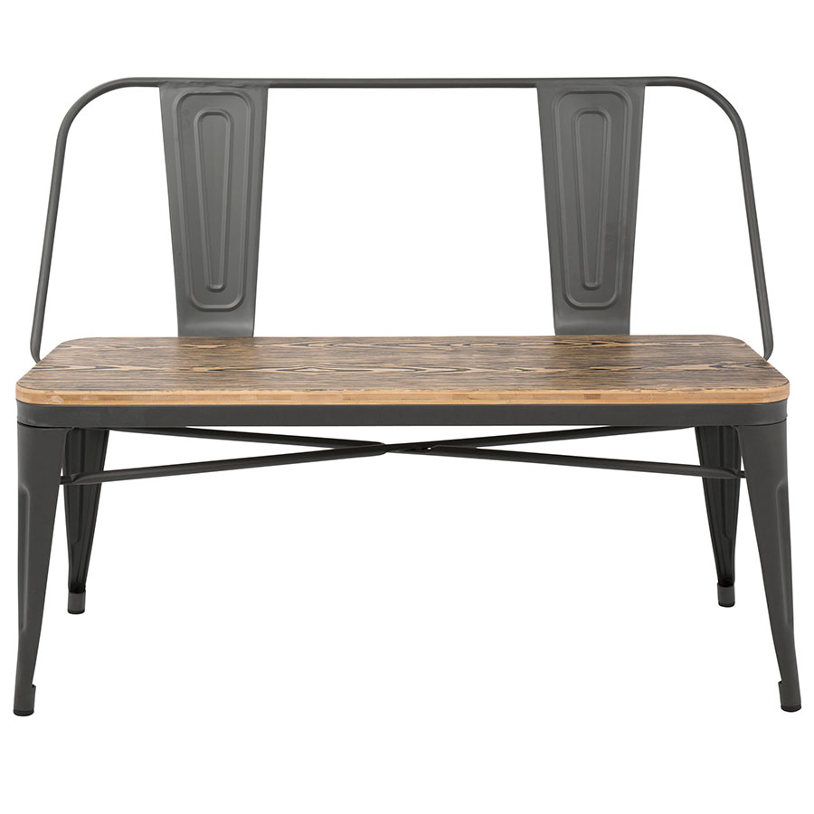 Good ... Oakland Gray Steel + Raw Wood Contemporary Industrial Dining Bench ...