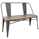 Oakland Gray Steel + Raw Wood Modern Industrial Dining Bench