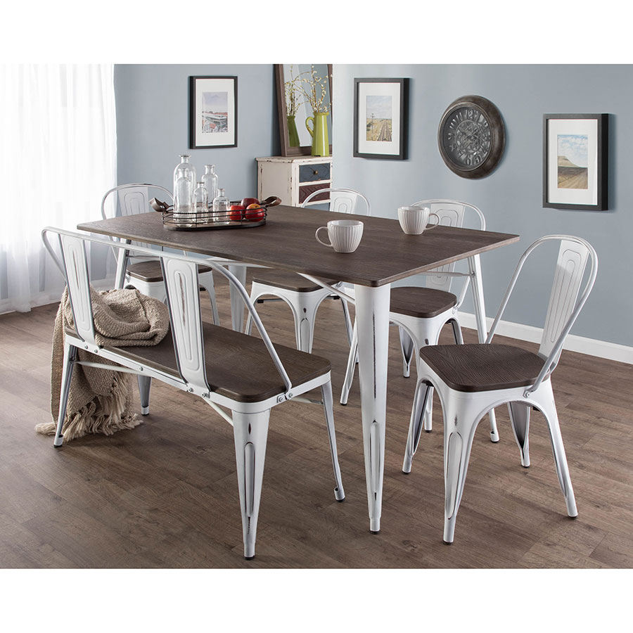 ... Bench · Oakland White + Espresso Industrial Dining Collection ...