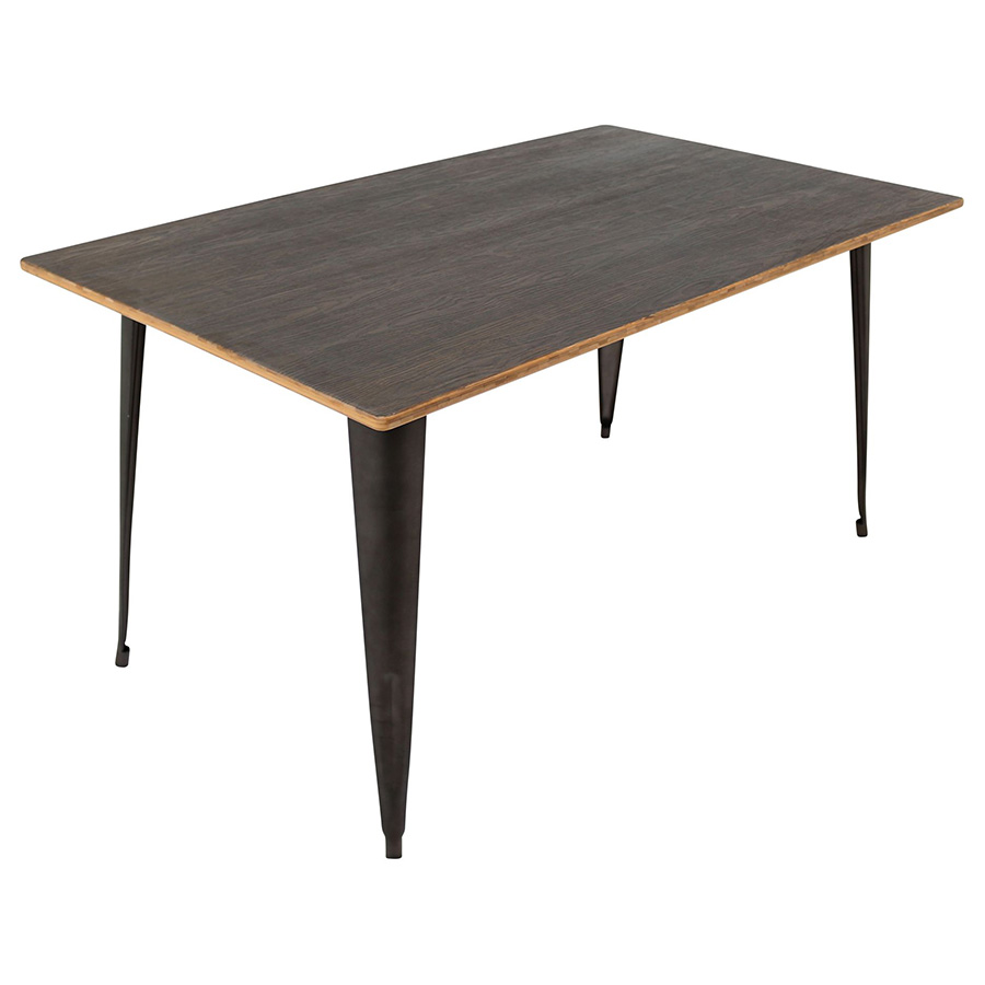 Oakland Antique + Espresso Rustic Modern Dining Table Set - Table Detail