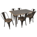 Oakland Antique + Espresso Modern Rustic Industrial Dining Set