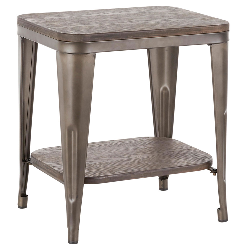 Oakland Modern Industrial End Table in Espresso + Antique