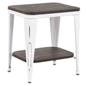 Oakland Modern Industrial End Table in Espresso + White