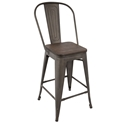 Oakland Antique + Espresso Modern High Back Counter Stool