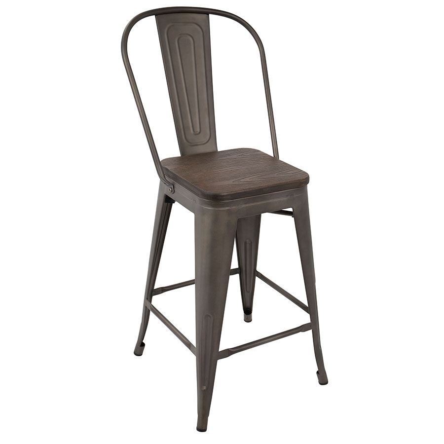 Oakland Antique Espresso High Back Counter Stool Eurway