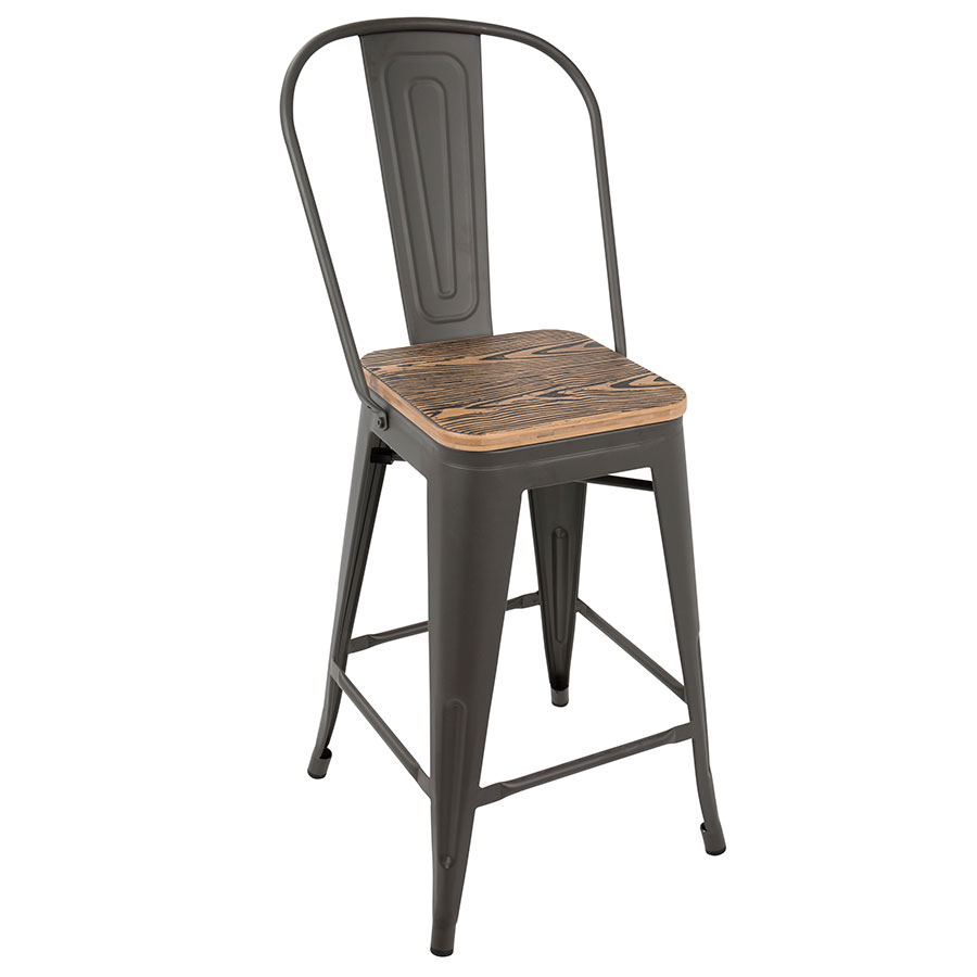 Oakland Gray + Brown Modern High Back Counter Stool