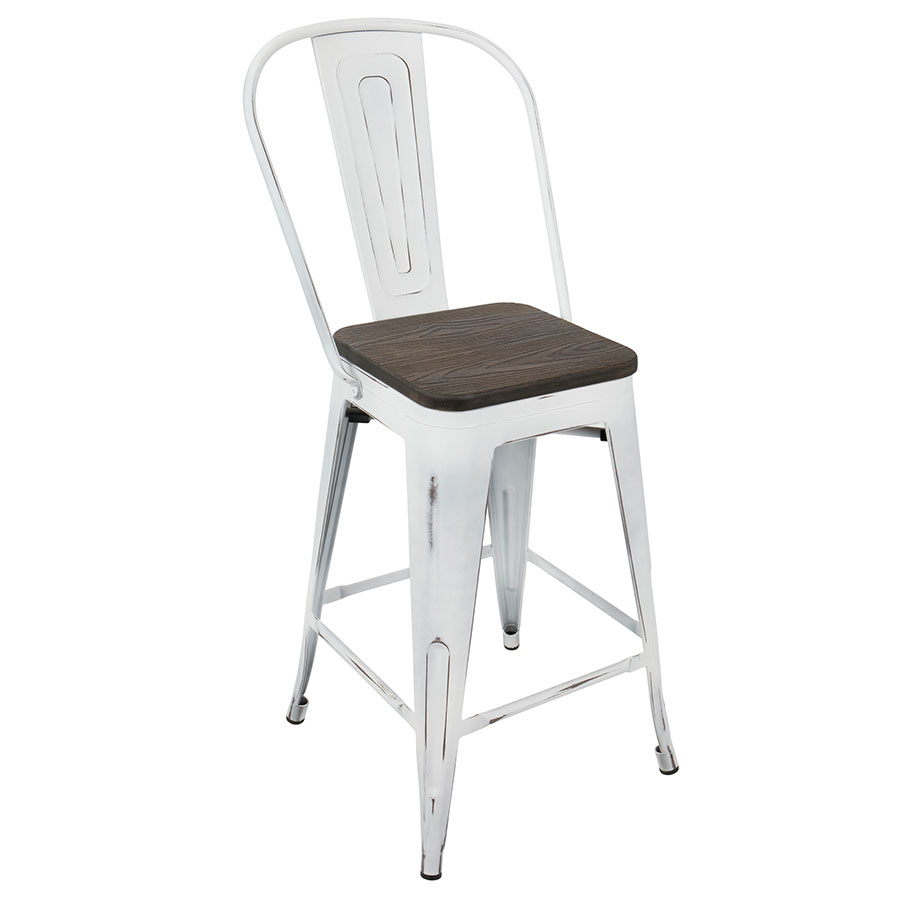 Oakland White + Espresso Modern High Back Counter Stool