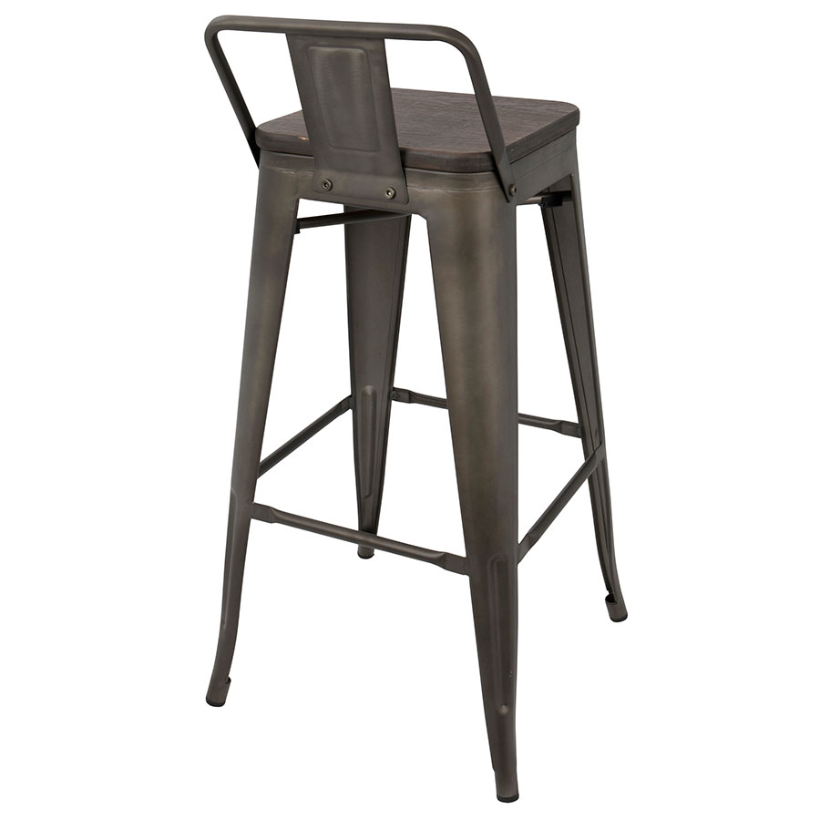 oakland low back antique  espresso bar stool  eurway -  oakland antique  espresso low back bar stool  back view