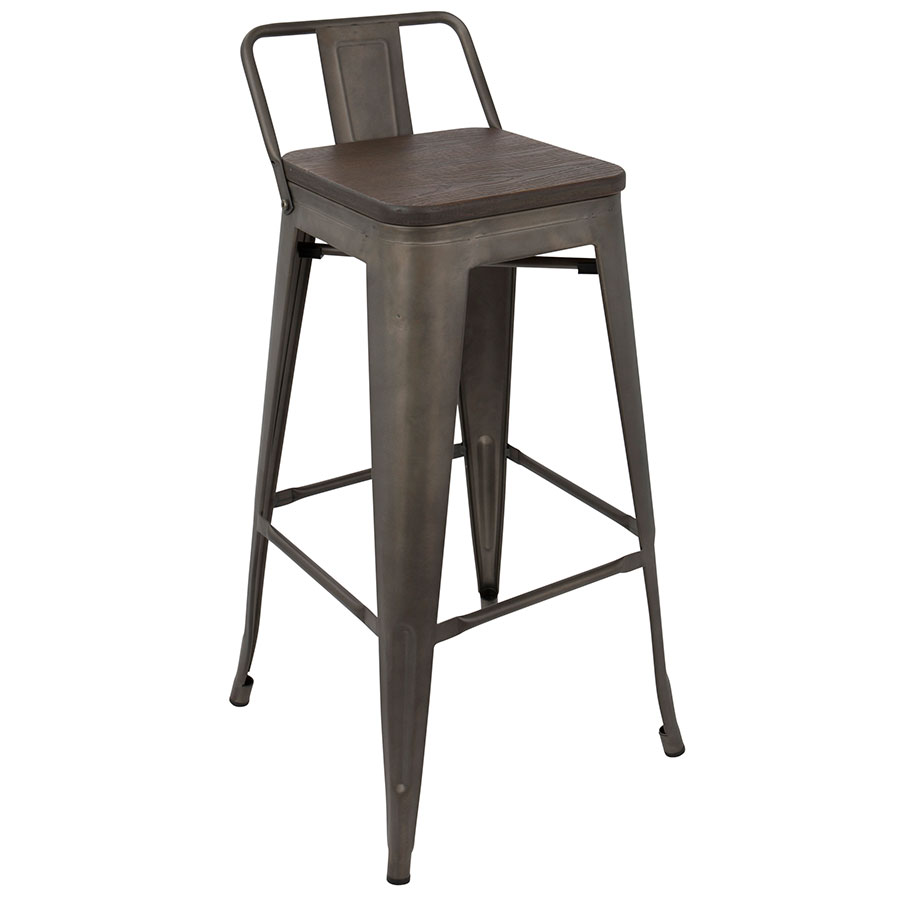 Oakland Antique + Espresso Low Back Bar Stool