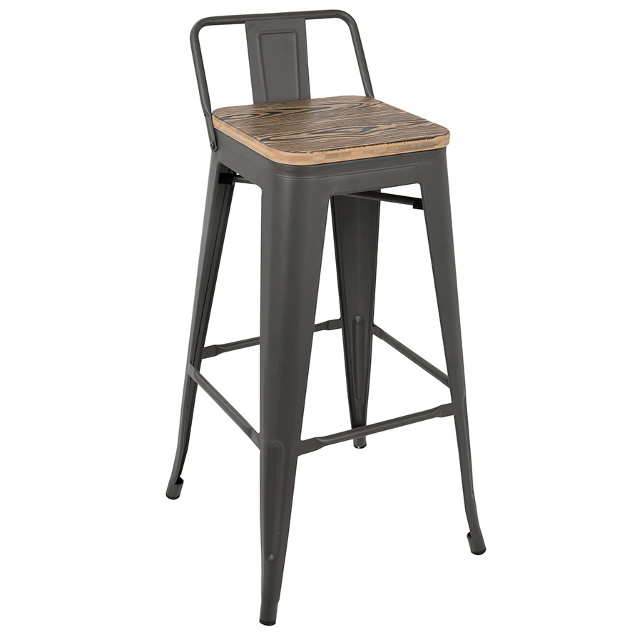 Oakland Gray + Brown Low Back Bar Stool