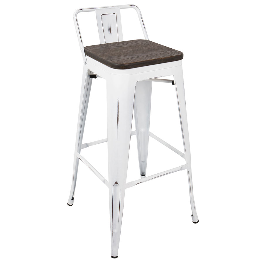Oakland White + Espresso Low Back Bar Stool