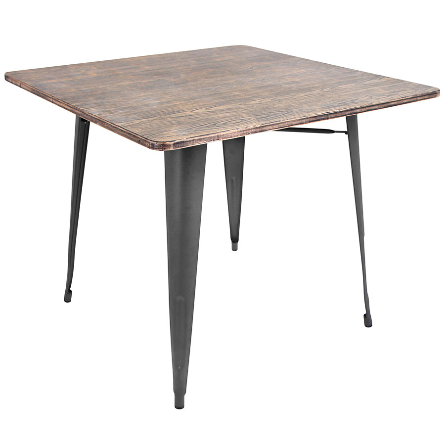 Oakland Rustic Contemporary Gray Square Dining Table