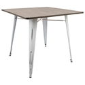 Oakland Rustic Contemporary White Square Dining Table