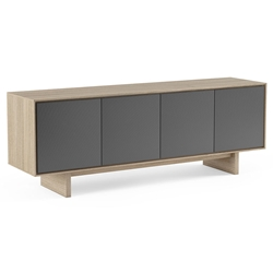 BDi Octave Drift Oak + Gray Perforated Steel 4 Door Modern Media Console