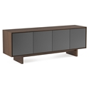 BDi Octave Toasted Walnut + Gray Perforated Steel 4 Door Modern Media Console