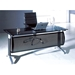 Odense 63 in. Contemporary Metal + Smoked Glass Top Desk