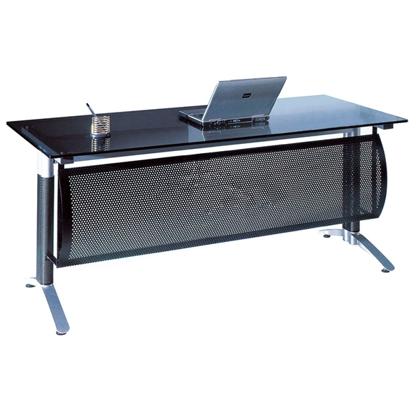 Odense 63 in. Modern Smoked Glass Top Desk
