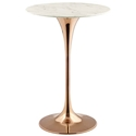 "Odyssey 28"" Round Modern Rose Gold + Faux Marble Bar Table"
