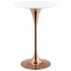 "Odyssey 28"" Round Modern Rose Gold + White Bar Table"