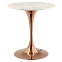 Odyssey 28 in. Round Rose Gold + Faux Marble Dining Table