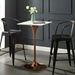 "Odyssey 28"" Square Mid-Century Rose Gold + White Bar Table"
