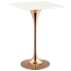 "Odyssey 28"" Square Modern Rose Gold + White Bar Table"