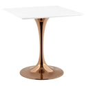 Odyssey 28 in. Square Rose Gold + White Dining Table