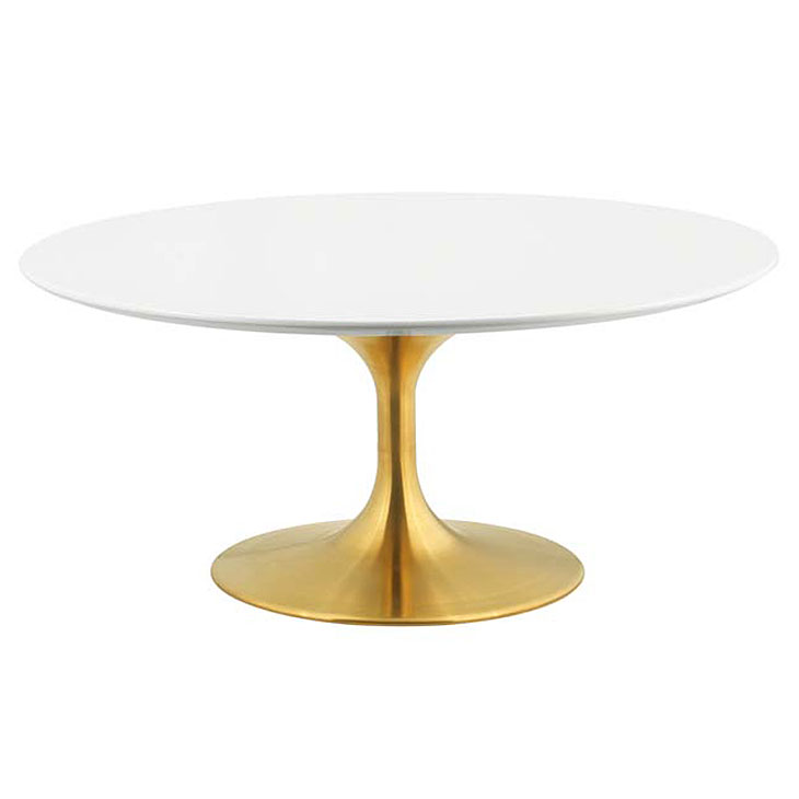 Odyssey 36 in. Modern Round Gold + White Coffee Table