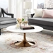 Odyssey 36 in. Mid-Century Round Rose Gold and White Coffee Table
