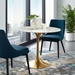 Odyssey 36 in. Mid-Century Gold + Faux Marble Round Dining Table