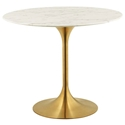 Odyssey Modern Gold + Faux Marble Round Top Dining Table