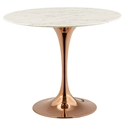 Odyssey Modern Rose Gold + Faux Marble Round Top Dining Table