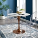 Odyssey 36 in. Mid-Century Rose Gold + White Round Wood Top Dining Table
