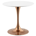 Odyssey Modern Rose Gold + White Round Wood Top Dining Table