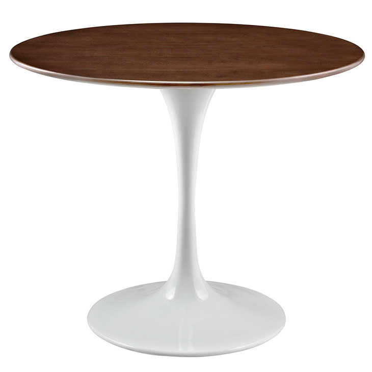 Odyssey 36 in. Round Modern Walnut + White Metal Dining Table