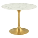 Odyssey 40 in. Round Gold + Faux Marble Dining Table